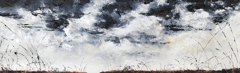 Painting depicting a thin foreground with tall grass beneath a swirling black and white sky