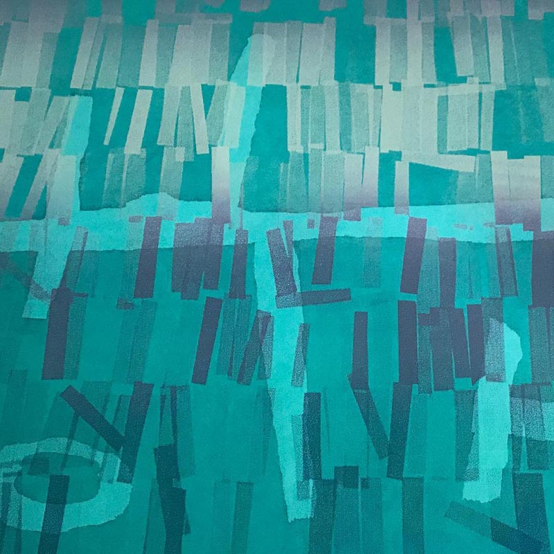 Abstract artwork comprising back-lit strips of coloured film gels in shades of blue, green and teal