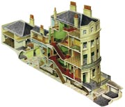 Cutaway drawing of The Regency Town House showing interior spaces, halls and stairs