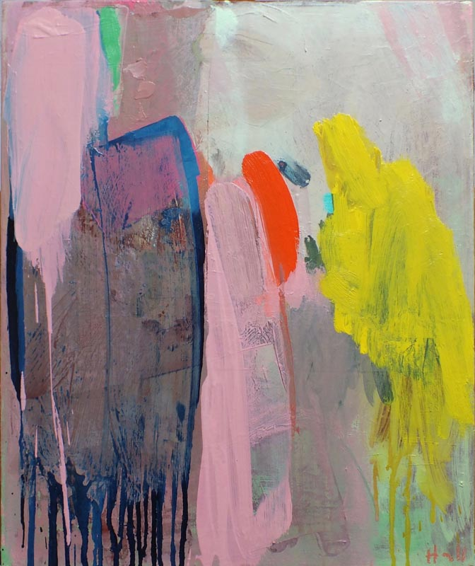 Abstract painting in bold strokes of pink, grey and yellow