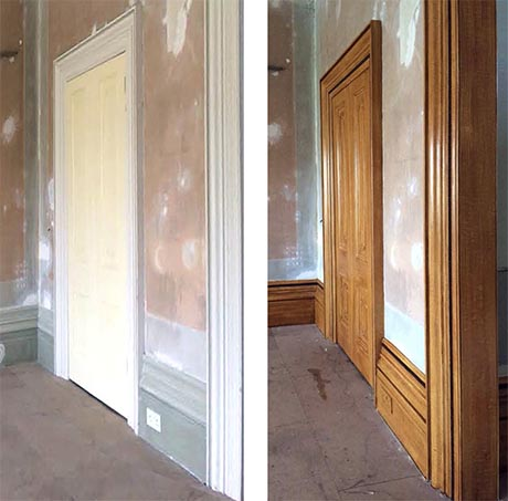 Before and after photos of woodgraining on door and frame
