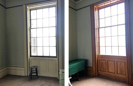 Photo showing sash window before and after graining