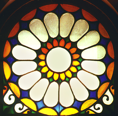 Stained glasswindow from the hall of 13 Brunswick Square