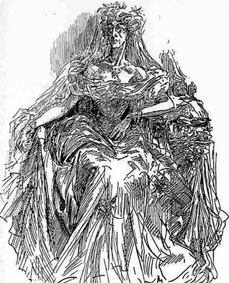 Line drawing of the Miss Havisham character