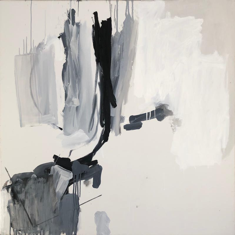 Abstract painting comprising areas of black, grey and white