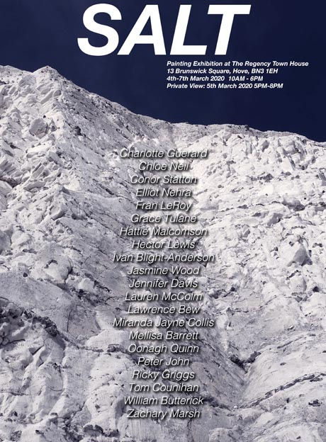 Poster for the exhibition SALT, showing a chalk cliff in front of which is a list of 21 artist's names