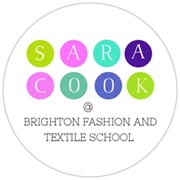 Logo for Brighton Fashion and Textile School, with the name Sara Cook in white lettering on coloured circles.