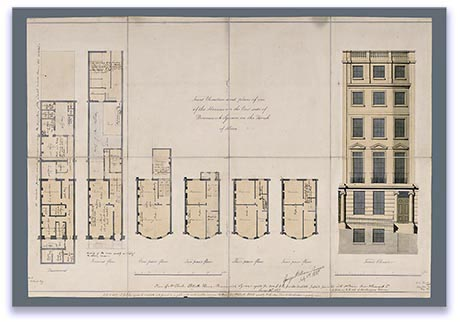 Architect's drawing of plans and elevation of a Regency town house