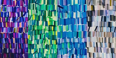 Abstract artwork comprising back-lit strips of coloured film gels in shades of purple, green, blue and brown