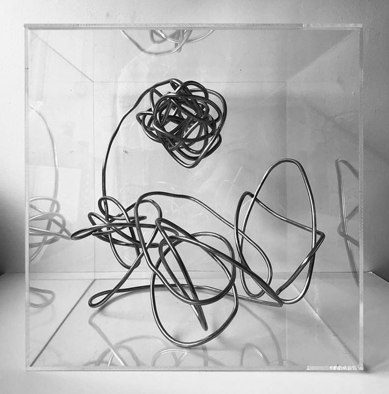 Sculpture of bent and twisted wire contained within a transparent Perspex cube
