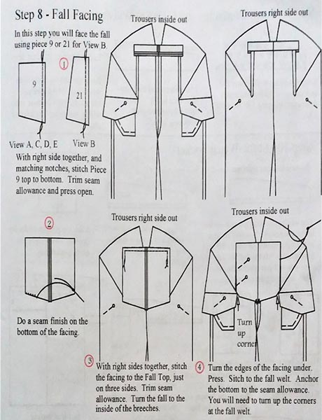 Page of instruction diagrams for making a garment