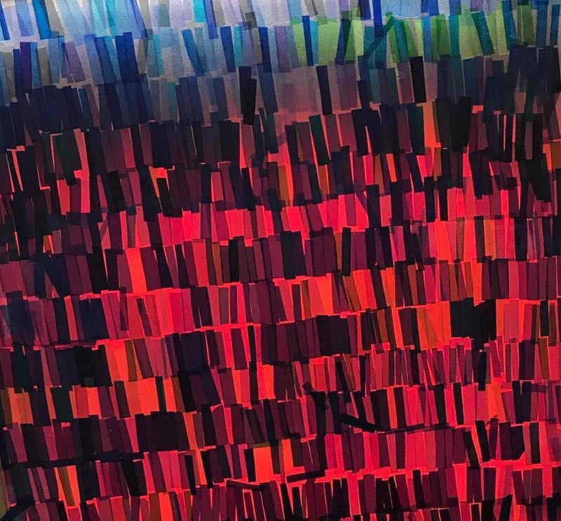 Abstract artwork comprising back-lit strips of coloured film gels in shades of blue, red and black