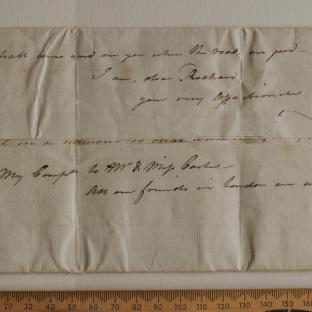Bevan letter - 1820s - first unfold back