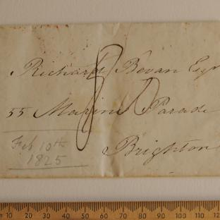 Bevan letter - 8 Feb 1825 - front