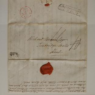 Bevan letter - 20 Aug 1829 - first unfold front