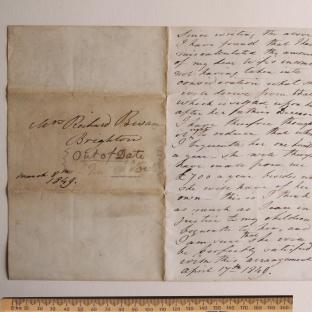 Bevan letter - 8 Mar 1849 - second unfold front
