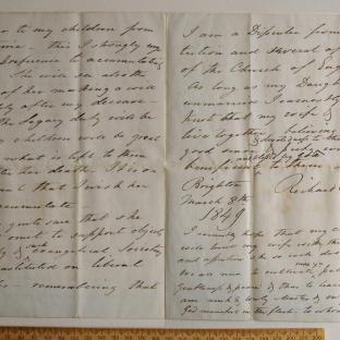 Bevan letter - 8 Mar 1849 - third unfold back