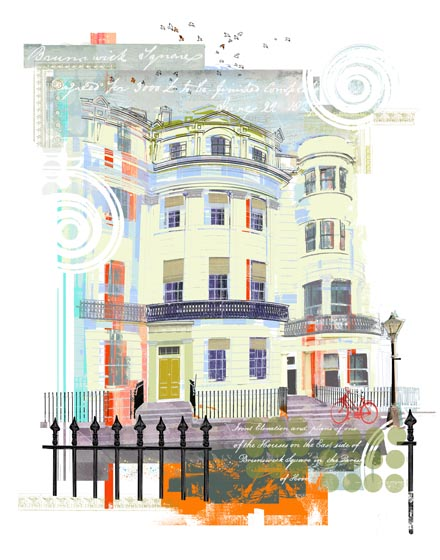 Screen print of The Regency Town House, showing the house facade, railings, adjoining buildings and embellished with Regency architectural motifs.